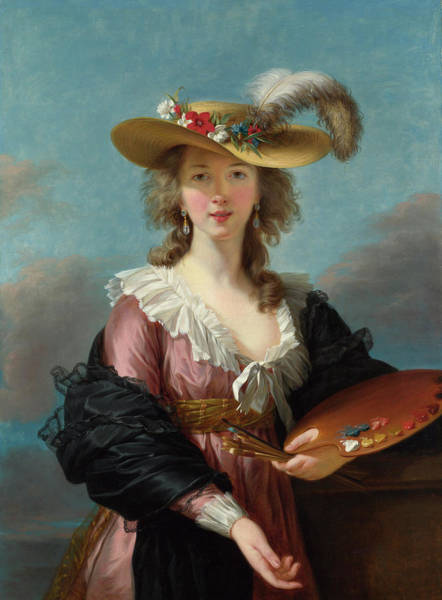 Pallet Wall Art - Painting - Self Portrait In A Straw Hat by Elisabeth Louise Vigee Le Brun