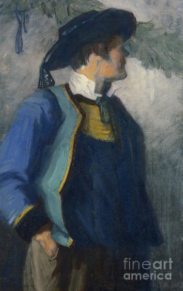 Blue Dress Painting - Self-portrait In Bretonnian Garb by Franz Marc
