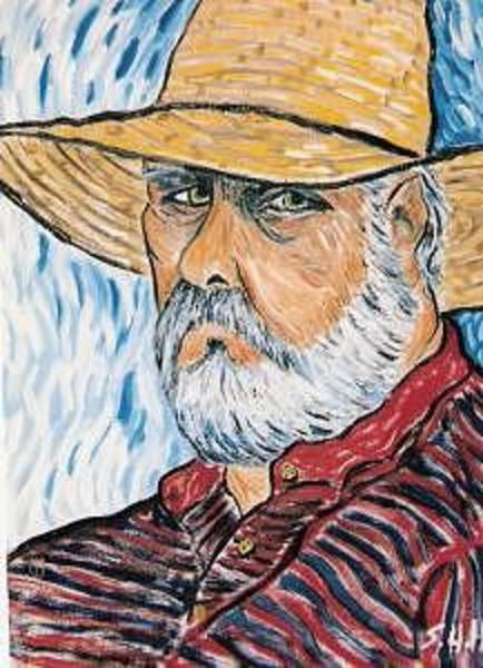 Wall Art - Painting - Self Portrait In Straw Hat by Steve  Hightower