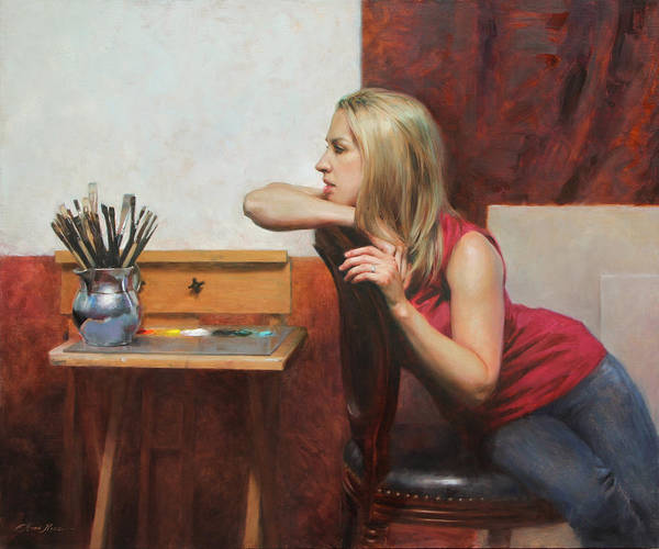 Blonde Painting - Self Portrait In The Studio by Anna Rose Bain