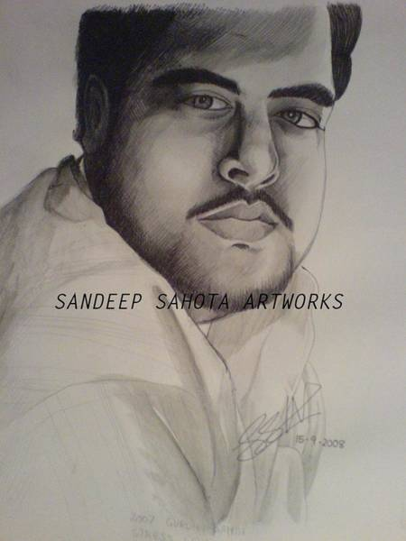 Orlando Bloom Painting - Self Portrait Sandeep K Sahota by San Art Studio