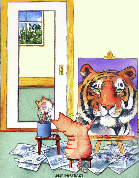 Portrait Wall Art - Painting - Self Portrait, Tiger by Jim Tweedy