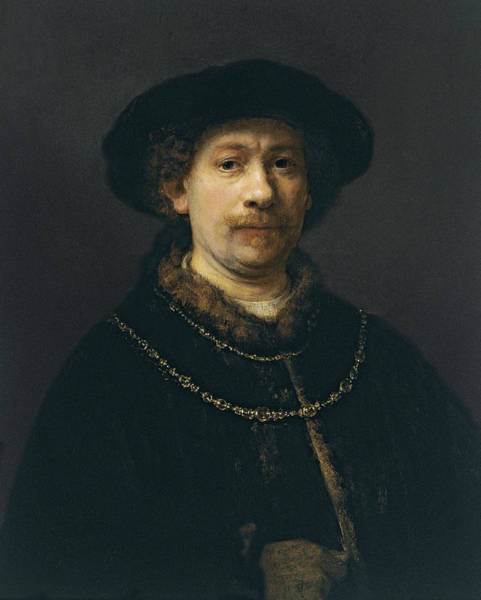 Painting - Self-portrait Wearing A Hat And Two Chains  by Rembrandt