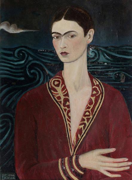 Wall Art - Painting - Self-portrait Wearing A Velvet Dress by Frida Kahlo
