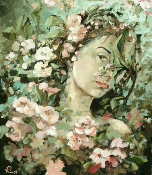 Selfportrait Painting - Self Portrait With Aplle Flowers by Vali Irina Ciobanu