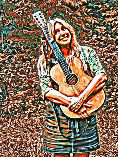 Digital Art - Self Portrait With Guitar by Lise Winne