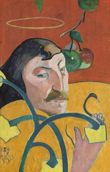 Painting - Self-portrait With Halo And Snake by Paul Gauguin