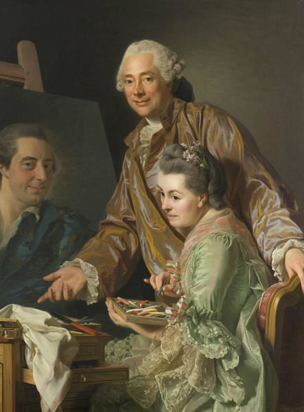 Painting - Self-portrait With His Wife Marie-suzanne Giroust by Alexander Roslin