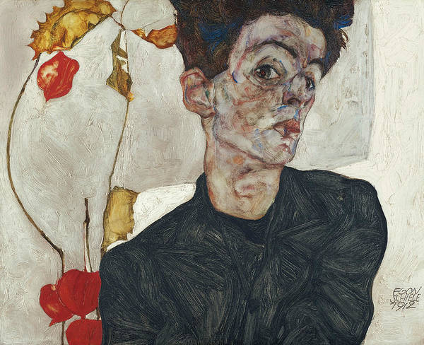 Painting - Self-portrait With Physalis by Egon Schiele