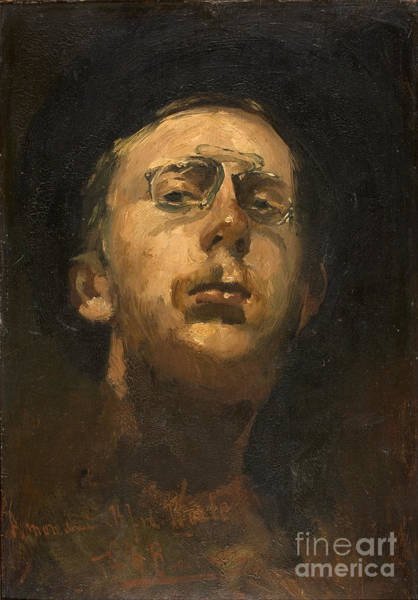 Pince Nez Painting - Self-portrait With Pince-nez by Celestial Images