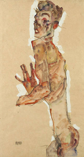 20th Century Man Drawing - Self-portrait With Splayed Fingers by Egon Schiele