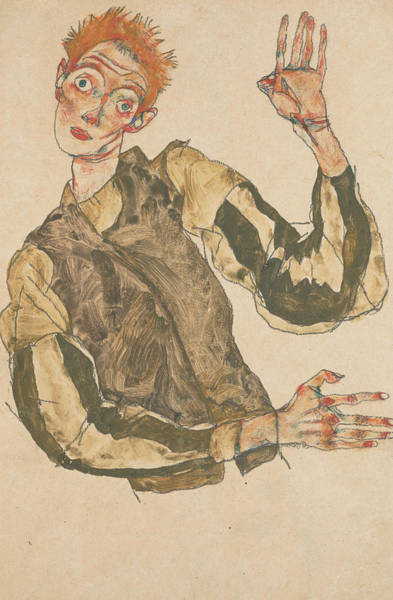 20th Century Man Drawing - Self-portrait With Striped Armlets by Egon Schiele