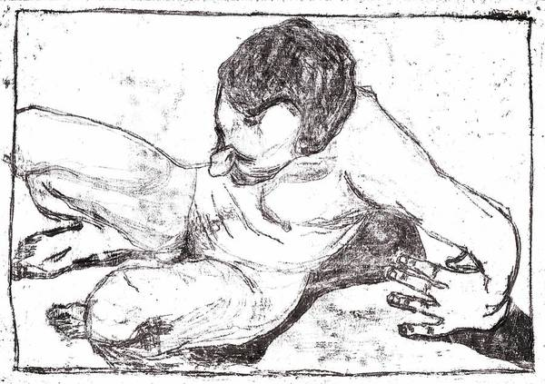 Drawing - Self Reclining Nude by Artist Dot