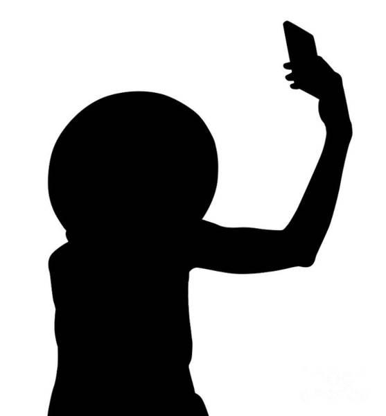 Digital Art - Selfie Woman Silhouette by Benny Marty