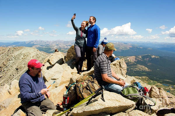 Photograph - Selfies  The Mount Massive Summit by Steve Krull