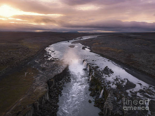 Photograph - Selfoss Aerial Sunrise  by Michael Ver Sprill