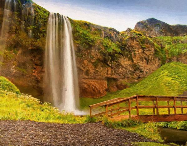 Icelandic Digital Art - Seljalandsfoss Waterfall 4 by Roy Pedersen