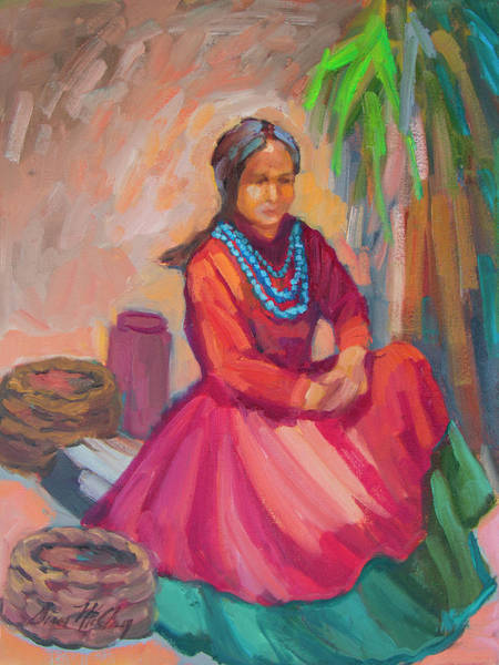 Painting - Selling Navajo Baskets by Diane McClary