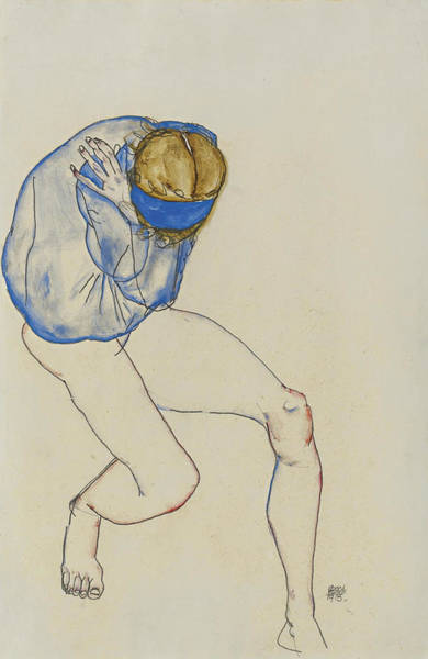 Wall Art - Drawing - Semi-nude Blond Girl With Blue Shirt And Blue Headband by Egon Schiele
