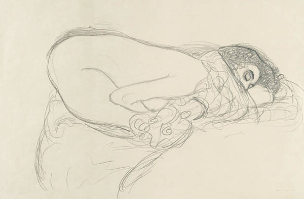 Drawing - Semi Nude Leaning Forward by Gustav Klimt
