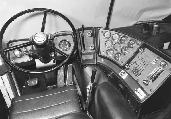 Semi Truck Photograph - Semi-trailer Cab Interior by Underwood Archives