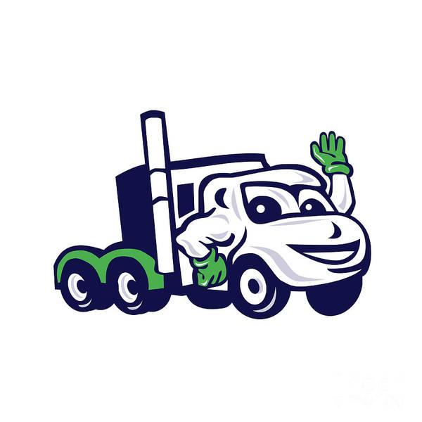 Semi-truck Digital Art - Semi Truck Rig Waving Cartoon by Aloysius Patrimonio