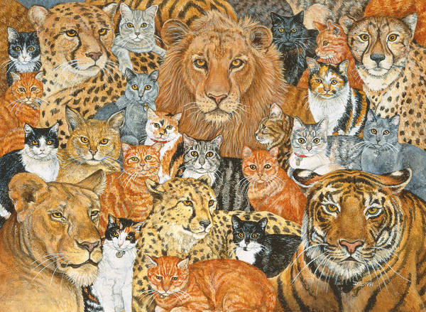 Male Lion Painting - Semi Wild Cat Spread by Ditz
