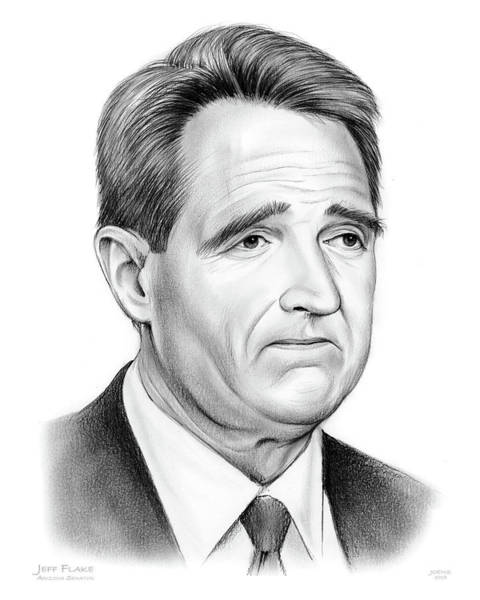 United States Drawing - Sen Jeff Flake by Greg Joens