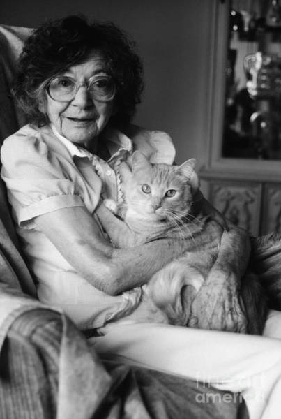 Elder Care Photograph - Senior Woman With Cat, C.1980s by H. Armstrong Roberts/ClassicStock