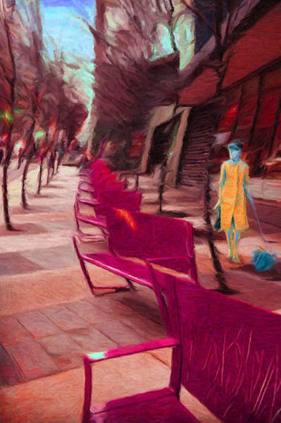 Digital Art - Senoidal Perspective With A Lady And Her Dog by Caito Junqueira