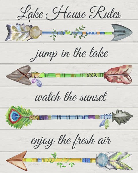 Wall Art - Painting - Sentimental Arrows-lake House Rules by Jean Plout