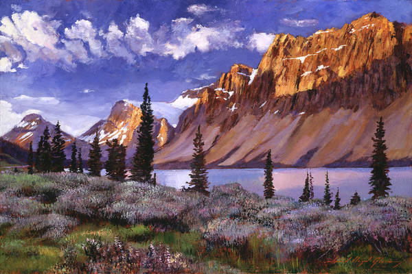 Mountain Lake Painting - Sentinals Of Stone by David Lloyd Glover