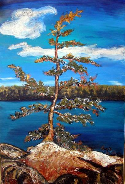 Painting - Sentinel Pine Blue by Anne-D Mejaki - Art About You productions