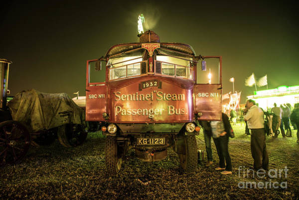 Autobus Photograph - Sentinel Steam Bus By Night  by Rob Hawkins