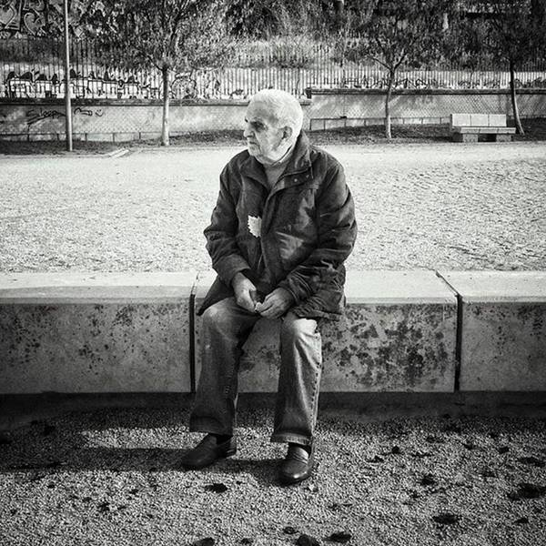 Portrait Photograph - Señor With His Leaf #blackandwhite by Rafa Rivas