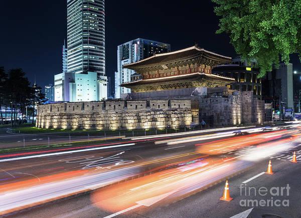 Photograph - Seoul Night Traffic Around Dongdaemun Gate by Didier Marti