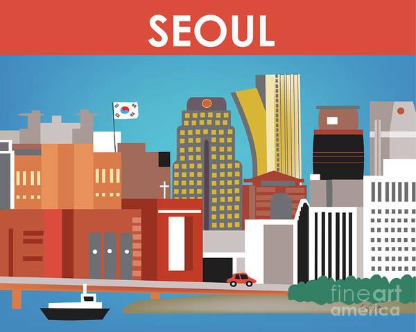 Wall Art - Digital Art - Seoul South Korea Horizontal Skyline by Karen Young