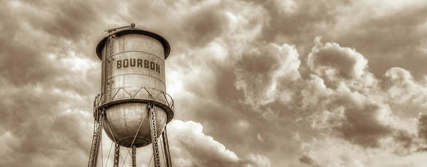 Photograph - Sepia Bourbon Whiskey Water Tower And Clouds Panorama by Gregory Ballos