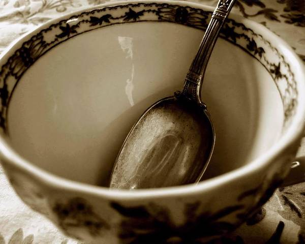 Photograph - Sepia Cup And Spoon by Patricia Strand