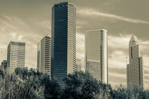 Photograph - Sepia Downtown Houston Texas Skyline by Gregory Ballos