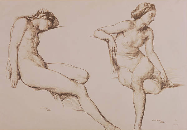 Etching Wall Art - Drawing - Sepia Drawing Of Nude Woman by William Mulready