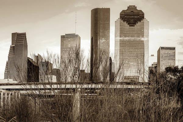 Photograph - Sepia Houston Texas City Skyline Through Barren Trees by Gregory Ballos