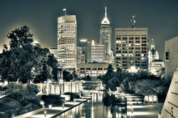 Photograph - Sepia Indianapolis Skyline Cityscape - Indiana Usa  by Gregory Ballos