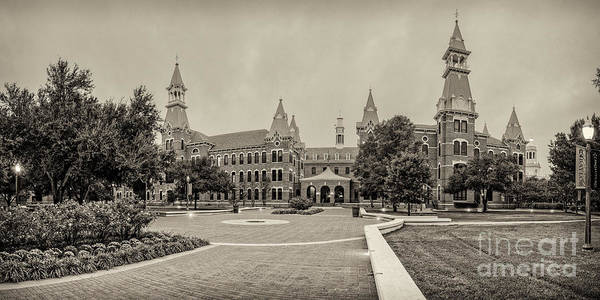 Big Bear Photograph - Sepia Panorama Of Burleson Hall And Old Main At Baylor University - Waco Central Texas by Silvio Ligutti