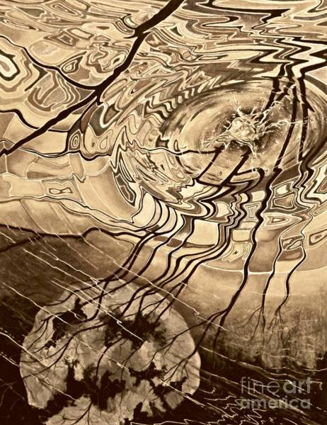 Drawing - Sepia Ripples by David Neace