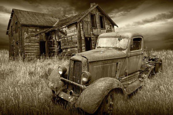Photograph - Sepia Tone Of Abandoned Dodge Truck And Farm House by Randall Nyhof