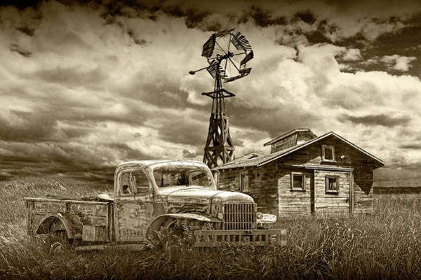 Photograph - Sepia Tone Of Old Vintage Junk Dodge Pickup And Decaying Barn With Windmill by Randall Nyhof