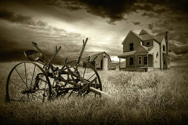 Photograph - Sepia Tone Of The Decline Of The Small Farm by Randall Nyhof