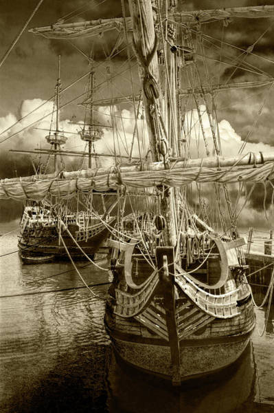 Photograph - Sepia Tone Of The Three Ships The Susan Constant, Godspeed, Discovery At Jamestown Harbor by Randall Nyhof