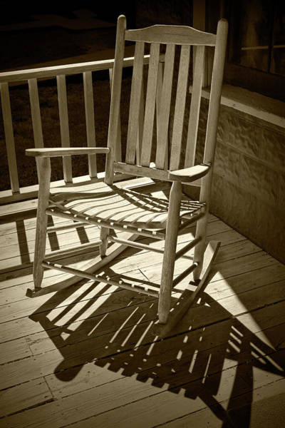 Photograph - Sepia Toned Old Wooden Rocking Chair And Shadows by Randall Nyhof